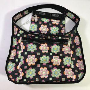 Le Sportsac Hobo Shoulder Bag Black Floral Set